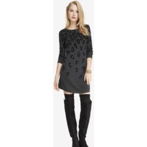 Express Black Gray Leopard Print Sweater Dress
